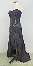 Vtg 80s Black Mermaid Dress Sequin Strapless Flower Bow Prom Evening Party 9