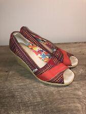 Toms Womens 8.5 Wedge Shoes Stripe Pattern Canvas High Heels Open Peep Toe