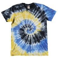 Blue Yellow Black TIE DYE T SHIRT Tye Die Tshirt Festival Top Tee Rainbow Rave T
