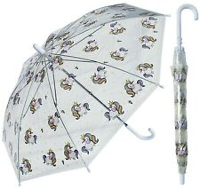 "32"" Arc Children Kid Clear Unicorn Umbrella - RainStoppers Rain Cute Colorful"