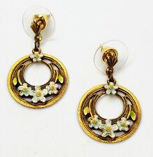 Vintage pierced earrings 1970s Victorian Revival enameled floral hoops by ART