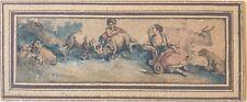 Jean-Baptiste I HUET (1745-1811) très rare gravure aquarellée bergère et berger
