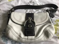 Ladies White And Brown Leather Genuine Coach Shoulder Handbag