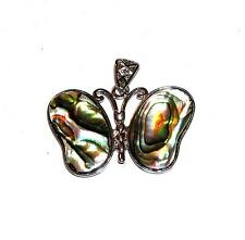 PENDANT/NECKLACE ST Mother of Pearl Colorful PAUA SHELL BUTTERFLY