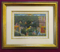 Hand Painted Miniature Painting India Hunting USA Artwork Maharajah King Framed