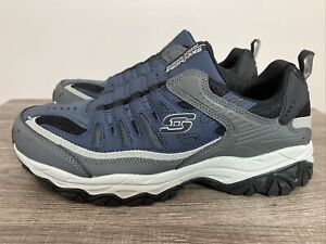 Mens Skechers After Burn Wonted 51866/NVGY  10.5 Navy/Gray Slip On Shoes
