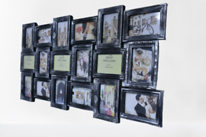 18 MULTI PHOTO FRAME LOVE FAMILY FRIEND COLLAGE HOME WALL PICTURE (BLACK SILVER)