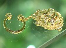 Judith Leiber Swarovski Crystal Turtle gold keyfob Key Fob chain Keychain Ring