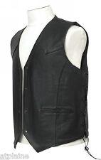 GILET CUIR LACETS noir doublé Taille XL - Style BIKER HARLEY