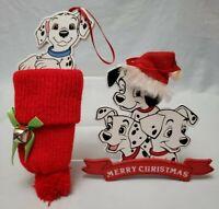 Disney 101 Dalmations Merry Christmas Ornament Kurt Adler Stocking new set of 2