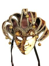 BROWN JOKER CARNIVAL VENETIAN MASQUERADE MASKS MARDI GRAS Made In Italy