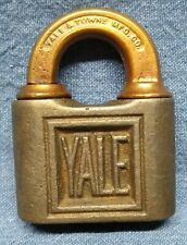 Antique Yale & Towne Mfg. Co. Padlock Push Key Lock Attractive Vintage With Key