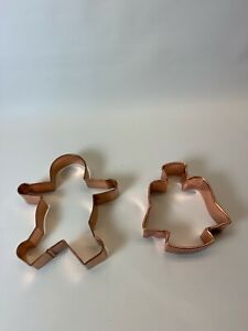 Cookie Cutter Gingerbread Man  Angel Copper Plated metal SET 2