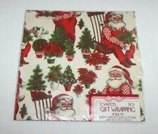 Vintage Gardener Santa Overalls Christmas Wrapping Paper Gift Wrap TIE TIE NOS