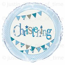 """BLUE CHRISTENING BOYS Party Balloons Decorations 18"""" FOIL BALLOON"""