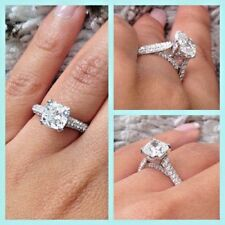 3.10 Ct Cushion Cut Natural Diamond Engagement Ring Round Pave H, IF GIA 18K