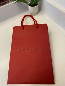 """Authentic Valentino Small Classic Red Shopping Gift Bag 12"""" x 8"""" x 7"""" Free Ship"""