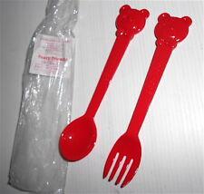 FANCY FRIENDS 1985 Sanrio Japan bear red fork & spon - forchetta e cucchiaino