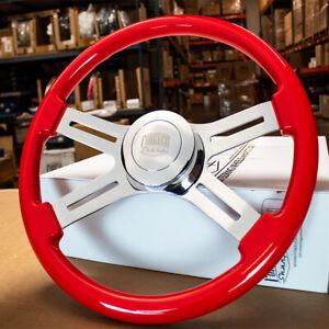 """Steering Wheel & Hub Kit: 18"""" Dual Classic Red Wood Smooth Horn (Freightliner)"""