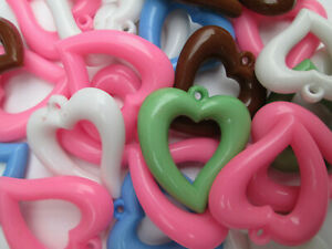 18 x Mixed Colour Heart Shaped Charms Pendants Crafting 38mm