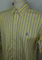 Ralph Lauren Mens S Button Down Shirt Classic Fit LS Yellow Multi Stripe EUC