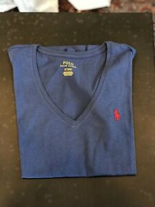 Women's Ralph Lauren Polo V-Neck Tshirt - Blue With Red Pony - Extra Small XS