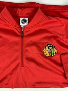 NWT NHL Chicago Blackhawks 1/4 Zip L/S Pullover Shirt Top sz XL Red