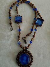 Vintage Cobalt Blue Glass Cameo Necklace