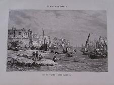 Gravure du XIXè s. Ile de Malte. Port. Cité de la Valette 1860 Girardet Gusmand
