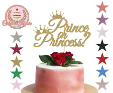 Baby Shower, Prince or Princess Gold Glitter Cake Topper Decoration