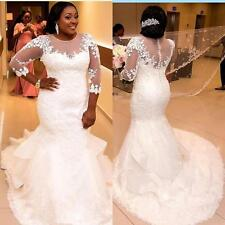 Plus Size 3/4 Sleeve Lace Wedding Dresses South African Bridal Gowns Custom Size