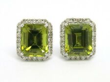 Elegant Green Tourmaline & Diamonds 18k white Gold Stud Earrings New