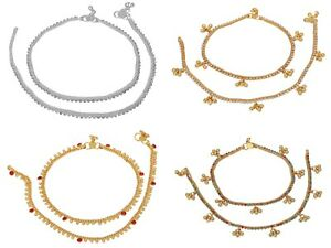 Indian Bollywood Gold Tone Bell Anklet Belly Dance Stone Trendy Fashion Jewelry