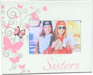 """Sisters Butterfly Photo Frame 6""""x4"""" Pink"""