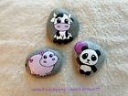 3 Hand Painted Rock Stone Art - Kawaii Characters CUTE Animals PANDA Hippo COW