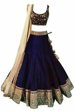 INDIAN TRADITION Girl's Georgette Navy blue Lehenga Choli Navy Blue_Free Size
