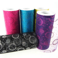 Organza Circle Dots Glitter Roll Christmas Gift Wrapping, 6-Inch, 25 Yards