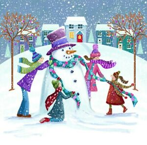 Charity Christmas Cards ~ 10 Pack with Envelopes ~ Colourful Snowman