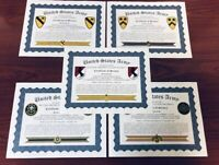 U.S. ARMY ~ CAVALRY UNITS' CERTIFICATE OF SERVICE / With FREE PRINTING