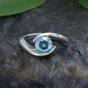 925 Sterling Silver 1 - 2 Ct Round Cut Blue Moissanite Solitaire Engagement Ring