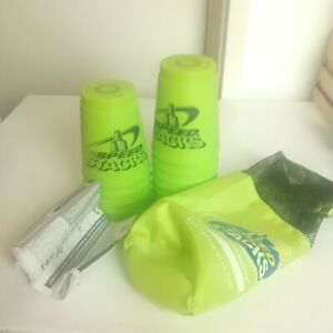 SPEED STACKS Stacking x 12 OFFICIAL Cups WSSA Sport Game Competition Green + Bag