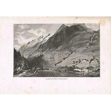 Saint-GOTHARD Mont Vue prise d'AIROLO avant le Tunnel en SUISSE GRAVURE XIXè S.