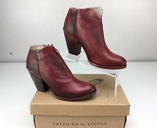 Freebird Detroit Red Leather Chunky Heel Ankle Boots Size 9