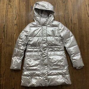J Crew Crewcuts Metallic Long Puffer Coat w Primaloft J5515, Size 14 NWT $138