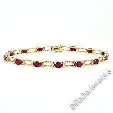 14K Yellow Gold 8.68ctw Oval Ruby and Diamond Open Link Tennis Bracelet 8 inches