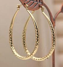 """18K Gold Filled 2"""" Big Hoop Geometry Concave Waterdrop Earrings Women Party L8"""