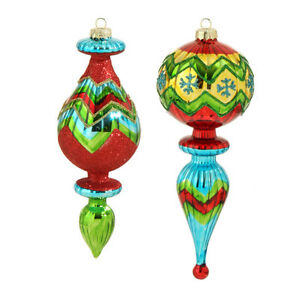 Set 2 NWT RAZ Red Blue Green Mercury Lined Glass Finial Drop CHRISTMAS Ornaments