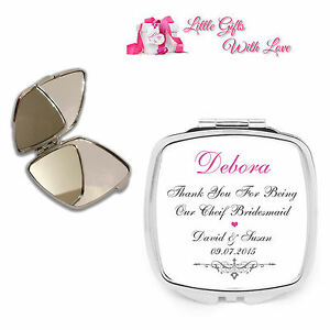 Personalised Chief Bridesmaid Compact Mirror Wedding Favour Thank You Gift .