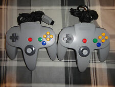 2 pcs N64, NINTENDO 64 gray controller original, oem, official tight joystick