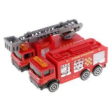 2PCS Diecast Fire Truck Construction Emergency Vehicle Cars Model Toys